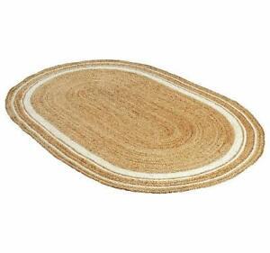 Natural Rug Jute Oval Braided Handmade Rug Area Carpet Rag Rug 3x4 Feet
