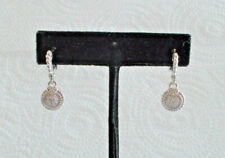 NEW - Judith Ripka Sterling Silver Circle Pierced Earrings With 18K Post