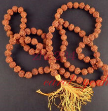 Long Tibetan 108 8mm Rudraksha Bodhi Seed Prayer Beads Mala Necklace bracelet @