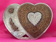 Vintage Womans **DOUBLE HEART ROSE STEM & VINE* Etched Western Flair BELT BUCKLE