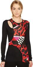 87a0aaafe088 Versace Jeans Women s Printed Cut Out Long Sleeve T-Shirt Rosso Red 46