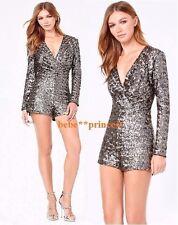 NWT bebe black gray gold multi sequins deep v long sleeve top romper M Medium 8