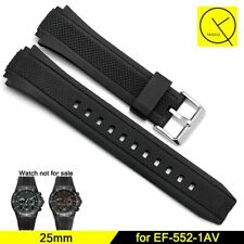 25mm Rubber Silicone Watchband Strap For Casio Edifice EF-552-1AV + Free Tools