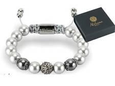 Danish Nirbana Soul Celestia Silver & grey Swarovski pearl bracelet - 24k gold