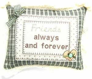 Friends Always and Forever Green Check Small Sentimental Cushion 28 CM