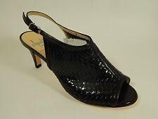 "Amalfi Black woven Leather Heels Sandals Mules Slingback Open Toe 7 M ""Conte"""