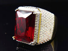 Mens Yellow Finish Red Ruby Lab Diamond Solitaire Sterling Silver Royal Ring