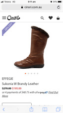 Womens Effegie long brown leather boots size 7