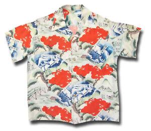 1950's Kuhio Sportswear RAYON Vintage Aloha Shirt Asian Scene print Hawaiian LRG
