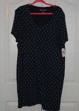 Nautica Cotton Blend Short Sleeve Navy Blue Sleepshirt Nightgown 2X NWT