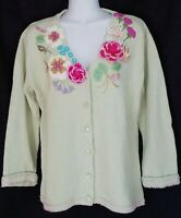 Storybook Knits Cardigan Sweater Cottagecore Floral Crochet Embroidered Beaded S