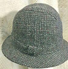 Vintage PENDLETON Gray Tweed Fedora Mens Hat 100% Virgin Wool Bucket Trilby