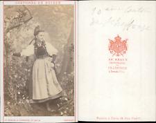 AD.Braun, canton de Schaffouse, costumes suisses Vintage CDV albumen carte de vi