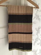 Gant Mens Brown Tan Beige Green Panel Scarf 100% Lambs Wool