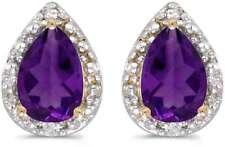10 Quilates Oro AMARILLO Pera Amatista & Diamante Pendientes