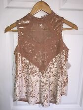 Altar'd State Knit and Lace Sleeveless Tunic Tan Size S