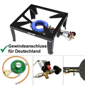 4 Fuss Hockerkocher 10,5 kW Wok Gaskocher Gasbrenner Zündsicherung Piezozündung