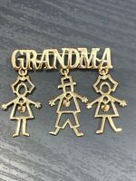 Vintage Brooch Pin Gold Tone Grandma Gift Dangle Kids Articulated Heart Charms