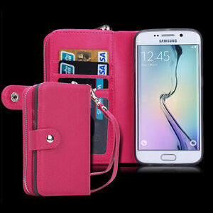 Luxury PU Leather Purse Zipper Wallet Case Card Cash Holder For Samsung S7 edge