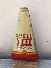 Bidon huile Shell X100 1950 Motor Oil triangulaire oel dose X-100 can garage