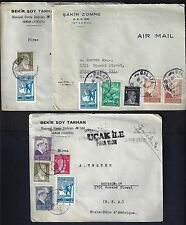 TURKEY 1947 THREE POST WAR COMMERCIAL COVER IZMIR & ISTANBUL TO US