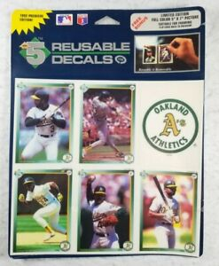 """Oakland Athletics Five Reusable Decals 1992 High 5 Decals Size 5""""x7"""" 5 Players"""