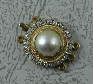 Quality Victorian Pearl & Old Cut Diamond 15ct Rose Gold Clasp