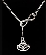Infinity Lotus Flower Ohm Knowledge Life Karma Y Lariat Style Necklace
