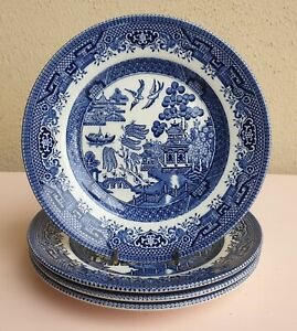SET OF 4 CHURCHILL BLUE WILLOW SIDE BREAD AND BUTTER PLATES MADE IN ENGLAND