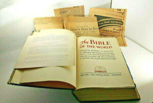 Vintage 1939 News Clips & The Bible Of The World Hardcover Viking Press ~ 1939