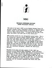 Vintage Original 1991 Msg Schenker McAulery Promo Sheet 1 Sided 4 Pages