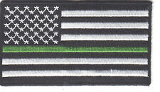 AMERICAN FLAG, BLACK & WHITE w/GREEN LINE IRON ON PATCH BORDER PATROL SHERIFF