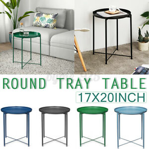 Round Tray Table Coffee Bedside Table Storage Steel Leg Industrial Modern Decor