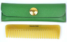 Authentic Hermes Baffalo Horn Comb with Green Leather Case RARE