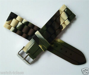 12mm 14mm 16mm 18mm 20mm 22mm 24mm Camouflage rubber Band Silicone Strap &Buckle