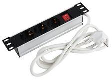 3-fach Steckdosenleiste zur Montage im 10 Zoll Netzwerkschrank Profilrahmen  3