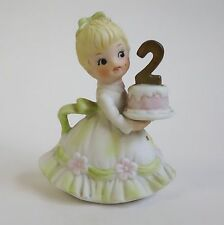Vintage Lefton China Birthday Girl Figurine 2nd Holding Cake - #549-2 Second 2