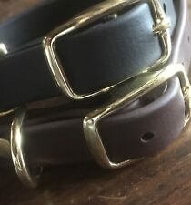 "Heavy BioThane® Leather Substitute 3/4 "" Dog Collar Brass Fittings Brown / Black"