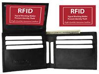 RFID Blocking Safe Men's Flap Top Front Pocket Leather Bifold Wallet