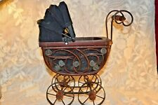 Vintage Wooden + Metal  + Cloth  Baby Doll Carriage / Buggy with Sun Hood