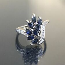 Vintage 18k White gold natural blue Marquise Sapphire Diamond cocktail ring band