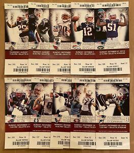 2012 NFL NEW ENGLAND PATRIOTS FULL UNUSED FOOTBALL TICKETS ENTIRE HOME SEASON