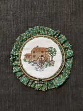 New ListingFinished And Framed Cabin Cross Stitch Piece In Embroidery Hoop Frame