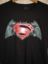 Batman V Superman Logo T Shirt Graphic Tee Size Large XL Black Dawn of Justice