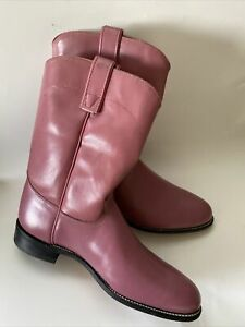 ROY COOPER Mauve Roper Pull-On Women Size 10  M Western Cowboy Boots