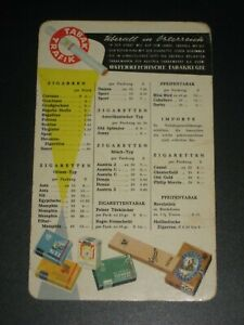 Vintage Austrian Tobacco Price Card c. 1940/50's