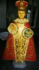 Statue religieuse Enfant Jésus de Prague Polychrome en plâtre. Vintage.