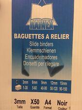 LOT 50 Baguettes à Relier Noires ( A4 - 3MM ) (1 à 30 feuilles)