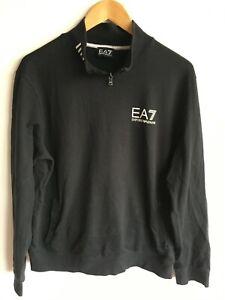EMPORIO ARMANI EA7 MENS L LARGE 40-42 HALF ZIP BLACK SWEATSHIRT JUMPER