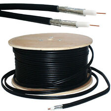 50M RG6 Twin Coaxial Shotgun Cable - Aerial Satellite Dish LNB - Sky+/HD Freesat